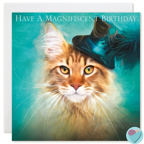 Maine Coon Cat Birthday Card 'GLORIOUS BIRTHDAY WISHES'
