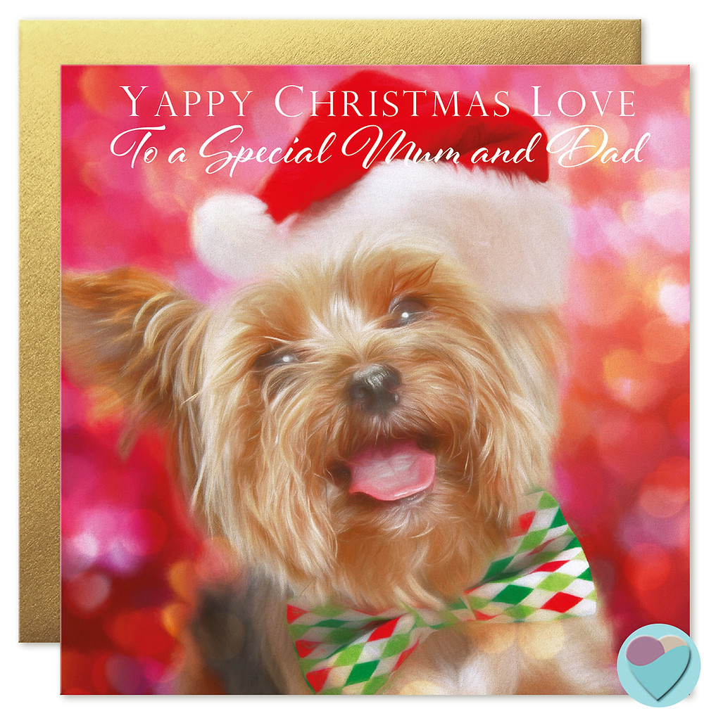 Yorkie Christmas Card for Mum and Dad, Yorkshire terrier greetings cards, yorkie birthday cards, buy uk cards online,  worldwide delivery dog cards, uk designer , uk artist