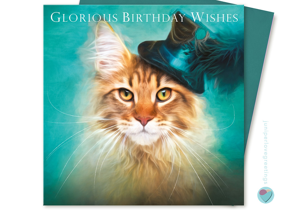 maine coon cat birthday card, tabby cat wearing mini top hat