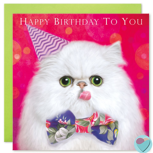 Persian Cat Birthday Card 'HAPPY BIRTHDAY TO YOU'