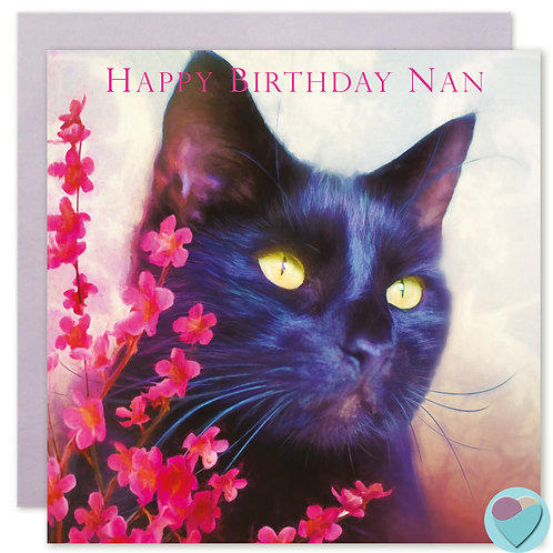 Nan Black Cat Birthday Card 'HAPPY BIRTHDAY NAN'