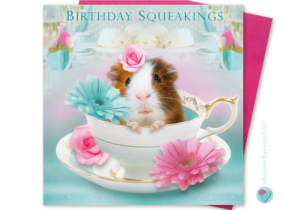 Birthday card tricolour guinea pig sitting in a tea cup with flowers
