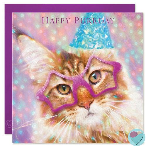 Maine Coon Cat Birthday Card UK 'HAPPY PURRDAY'