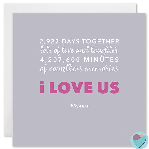 Anniversary Card 8 Years 2,922 DAYS TOGETHER