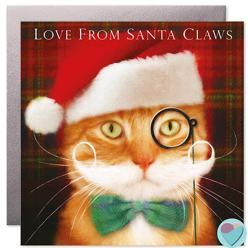 Ginger Cat Christmas Card 'LOVE FROM SANTA CLAWS'
