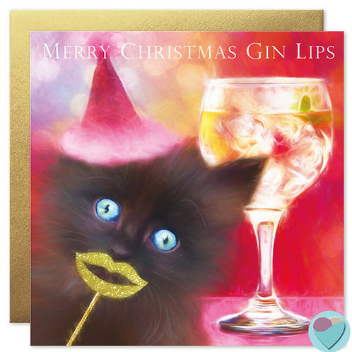 Fluffy Black Kitten Christmas Card 'MERRY CHRISTMAS GIN LIPS'