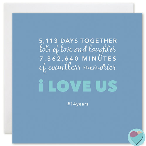 Anniversary Card 14 Years 5,113 DAYS TOGETHER