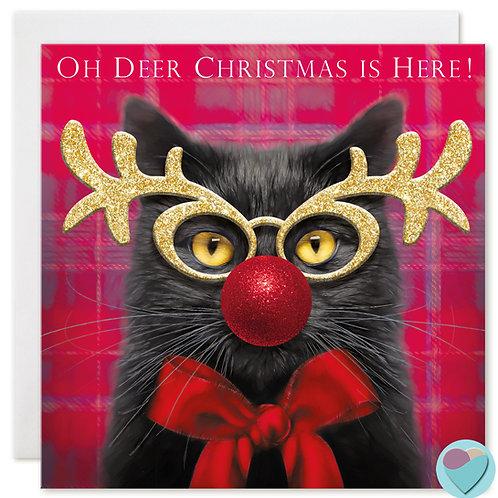 Black Cat Christmas Card 'OH DEER CHRISTMAS IS HERE!'