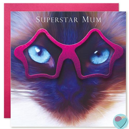 Ragdoll Cat Birthday Card Mum 'SUPERSTAR MUM'