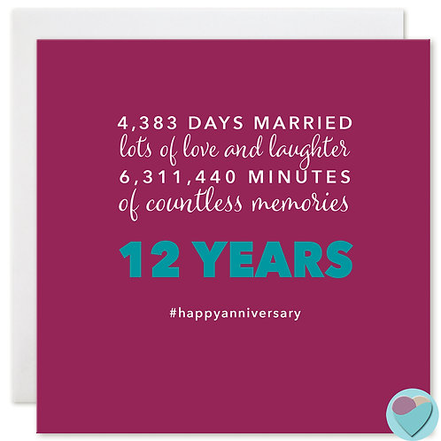 Wedding Anniversary Card 12 Years 4,383 DAYS MARRIED