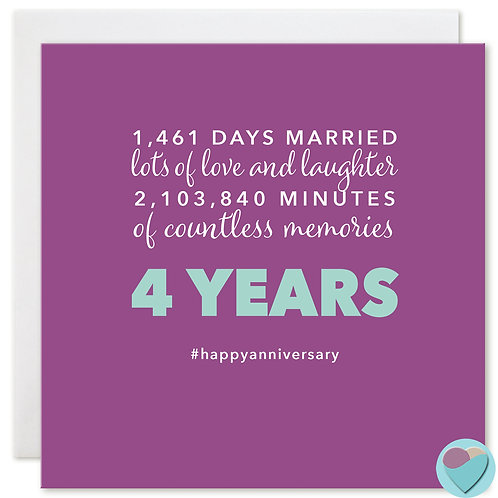Wedding Anniversary Card 4 Years '1,461 DAYS MARRIED'