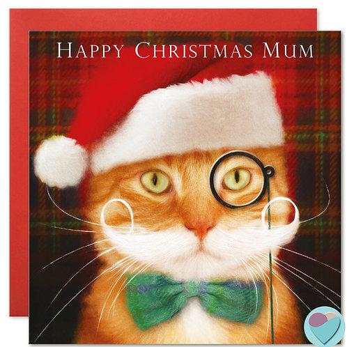 Ginger Cat Christmas Card Mum 'HAPPY CHRISTMAS MUM'