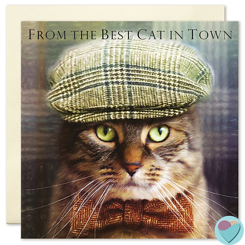 Birthday Card from the Cat - 'FROM THE BEST CAT IN TOWN'
