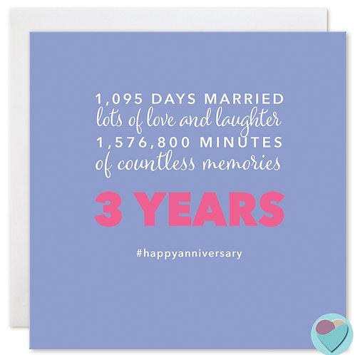 Wedding Anniversary Card '1,095 DAYS TOGETHER'