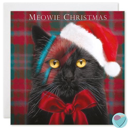 Black Cat Christmas Card 'MEOWIE CHRISTMAS'