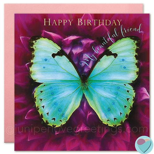 Butterfly Birthday Card Special Friend 'HAPPY BIRTHDAY MY BEAUTIFUL FRIEND'