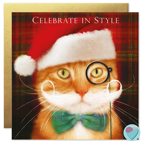 Ginger Cat Christmas Card 'CELEBRATE IN STYLE'