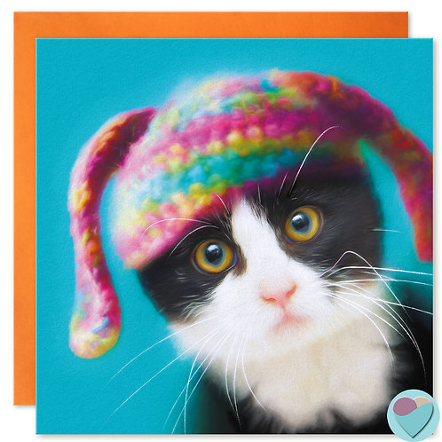BLANK Cat Card Black and White Cat Kitten Lover