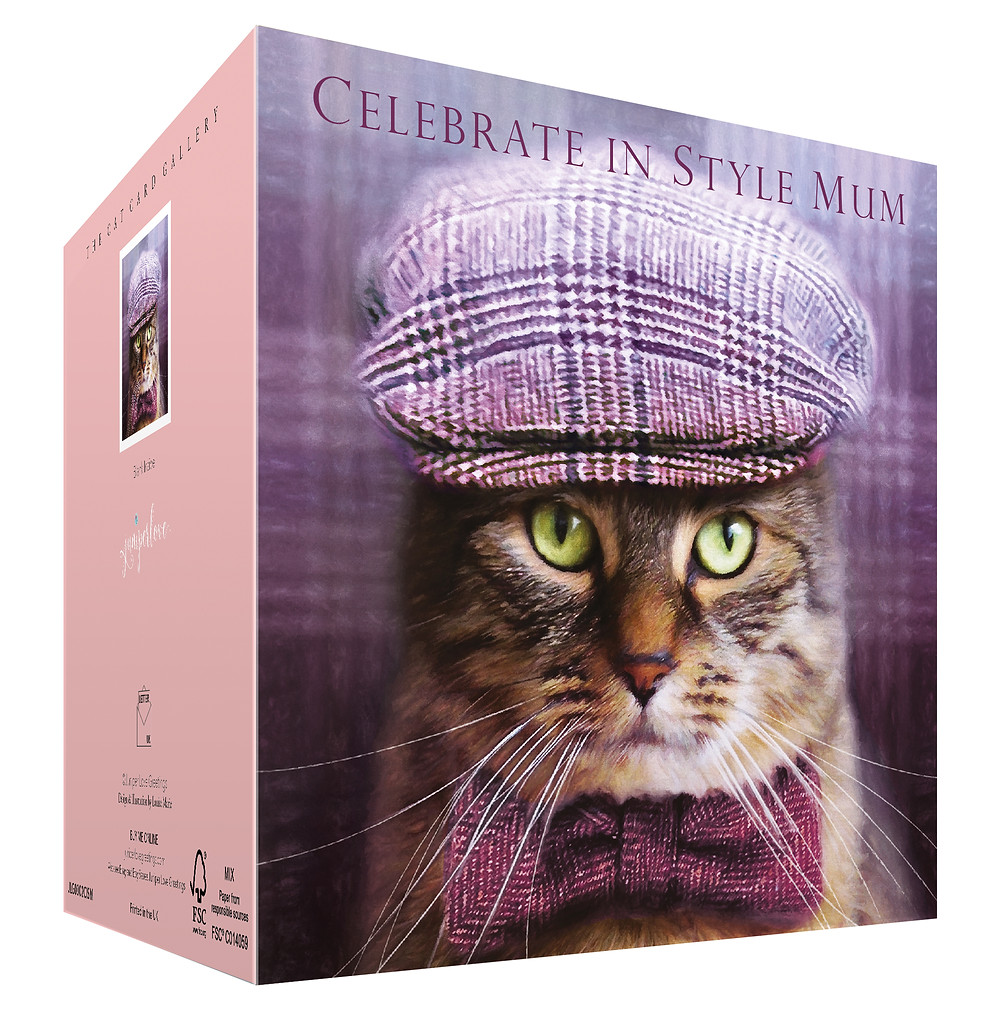 Birthday Card with a Tabby Cat wearing Bow Tie and Tweed Flat Cap, Ideal for Mums birthday, Retirement , Mother's Day or from the cat!