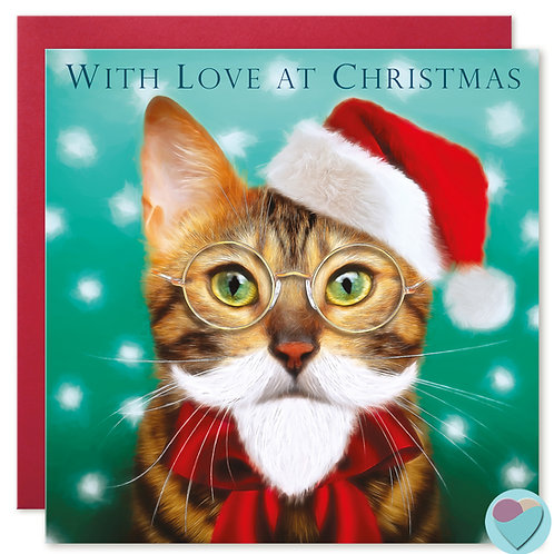 Bengal Cat Christmas Card  WITH LOVE AT CHRISTMAS