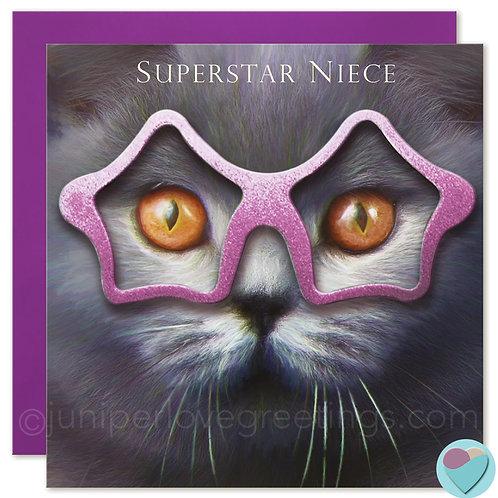 Niece Birthday Card British Blue Cat - 'SUPERSTAR NIECE'
