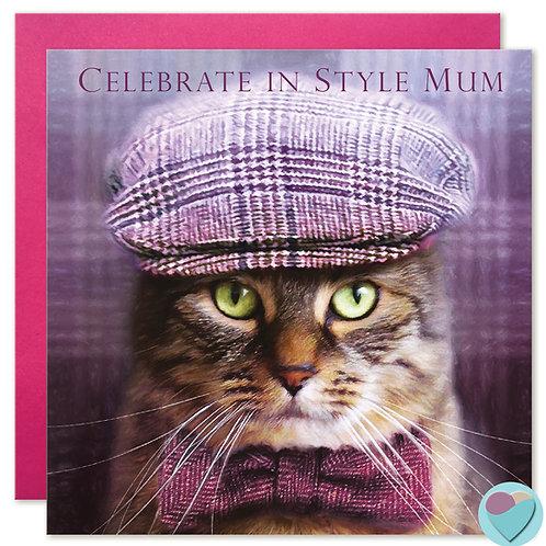 Tabby Cat MUM Birthday Card 'CELEBRATE IN STYLE MUM'