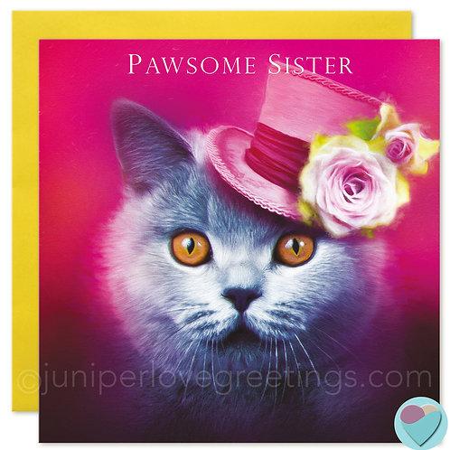 Sister Birthday Card British Blue Shorthair Cat 'PAWSOME SISTER'