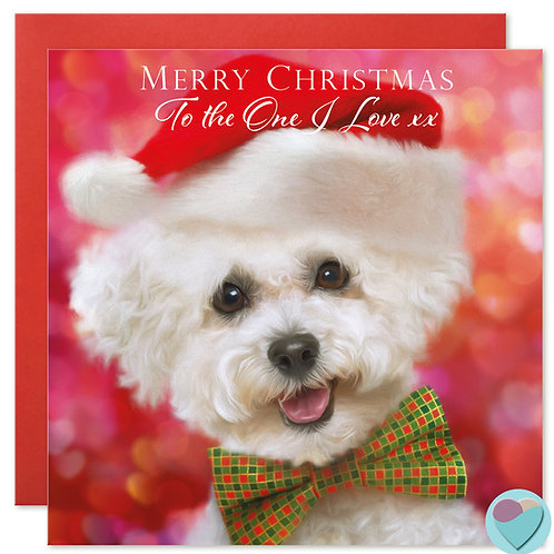 Bichon Frise Puppy Christmas Card 'TOTHE ONE I LOVE'