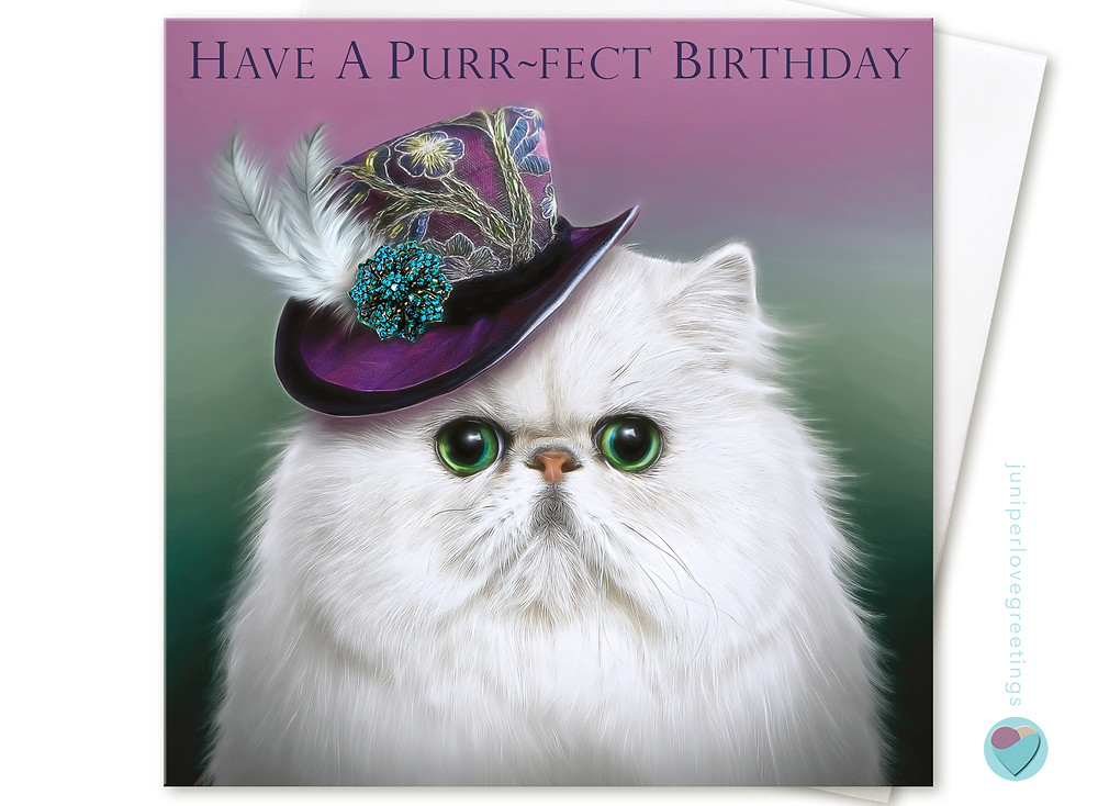 white Persian cat wearing mini top hat birthday card