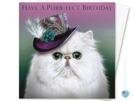 Wonderful new Persian cat birthday card design by Juniperlove Greetings!