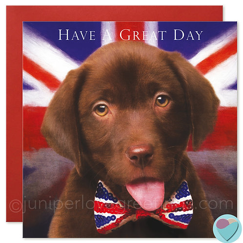 Chocolate Labrador Puppy Card  'HAVE A GREAT DAY'