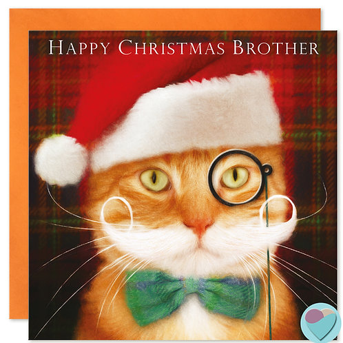 Ginger Cat Christmas Card Brother 'HAPPY CHRISTMAS BROTHER'