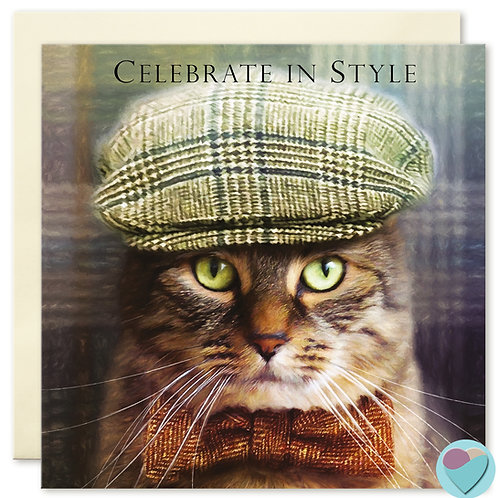 Tabby Cat Birthday Card 'CELEBRATE IN STYLE '