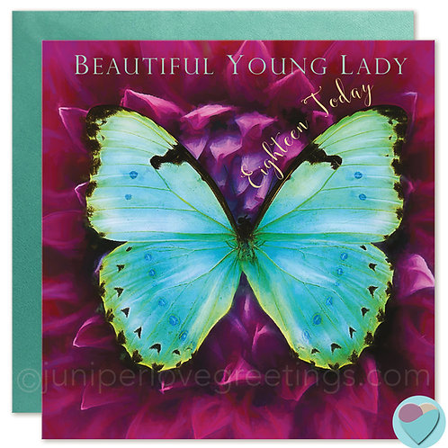18th Birthday Card Butterfly 'BEAUTIFUL YOUNG LADY Eighteen Today!'