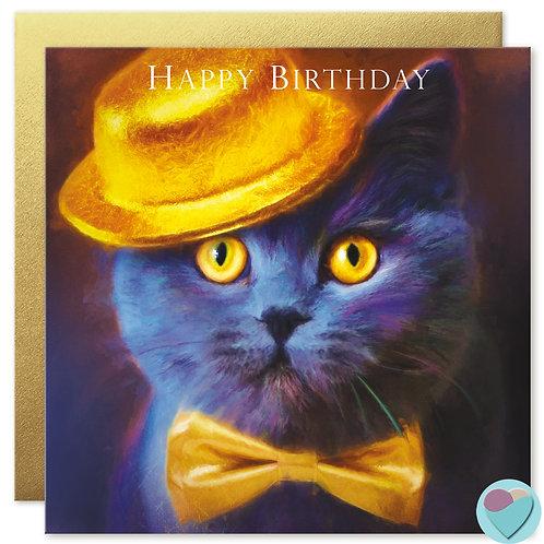 British Blue Cat Card 'HAPPY BIRTHDAY'