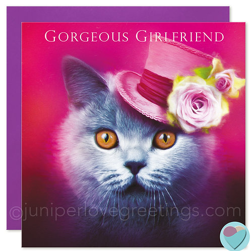 Girlfriend Birthday Card British Blue Cat Lover 'GORGEOUS GIRLFRIEND'