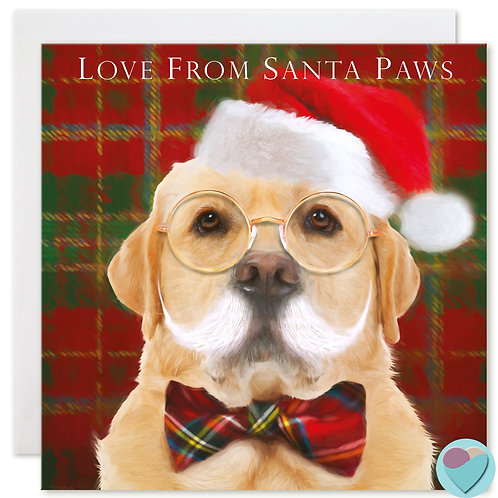 Labrador Christmas Card 'LOVE FROM SANTA PAWS'