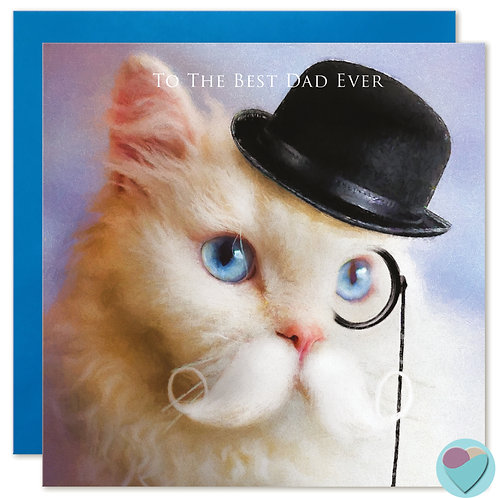 Selkirk Rex Cat Dad Birthday or Father's Day Card 'TO THE BEST DAD EVER'