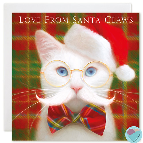 White Cat Christmas Card 'LOVE FROM SANTA CLAWS'