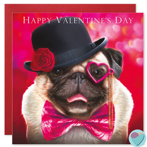 Pug Card 'HAPPY VALENTINES DAY'