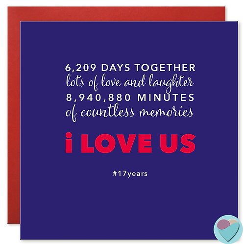 Anniversary Card 17 Years 6,209 DAYS TOGETHER