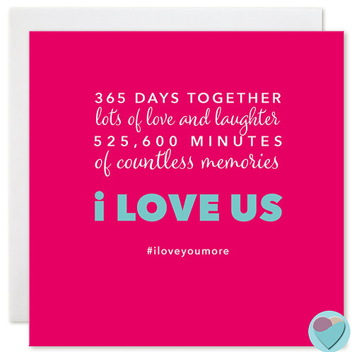 First Year Anniversary Card '365 DAYS TOGETHER'