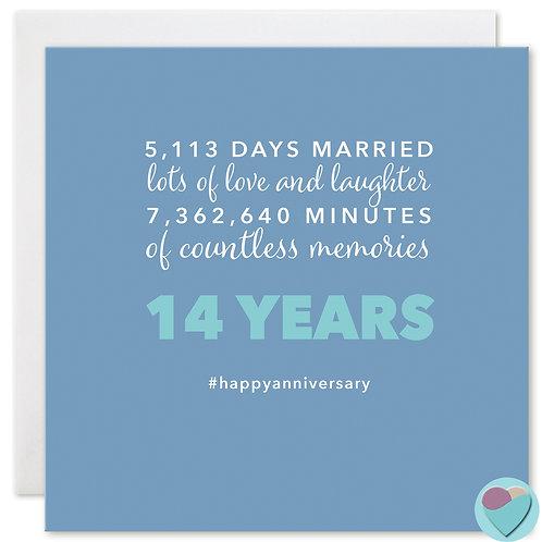 Wedding Anniversary Card 14 Years 5,113 DAYS MARRIED