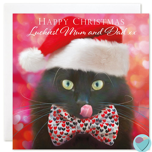 Black Cat Christmas Card 'HAPPY CHRISTMAS Luckiest Mum and Dad'