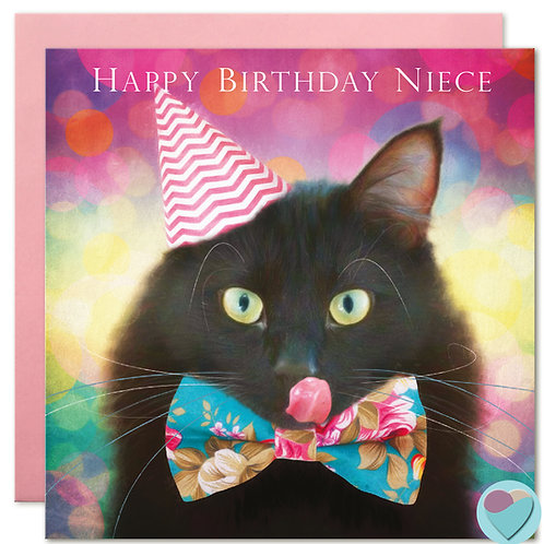 Black Cat Birthday Card Niece 'HAPPY BIRTHDAY NIECE'