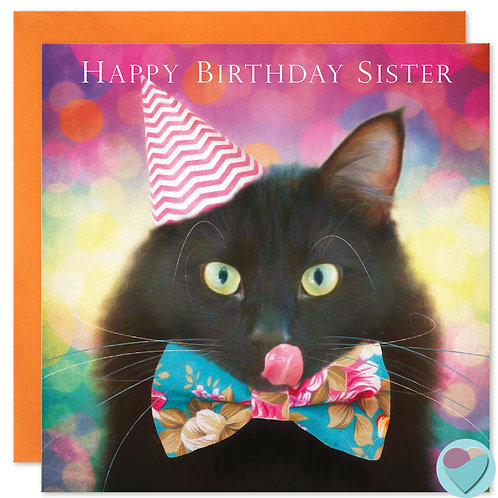 Black Cat Birthday Card Sister 'HAPPY BIRTHDAY SISTER'