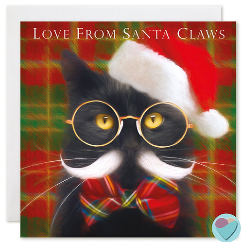 Black Cat Christmas Card 'LOVE FROM SANTA CLAWS'