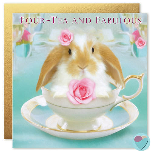 40th Birthday Card Dwarf Lop Bunny 'FOUR-TEA AND FABULOUS'