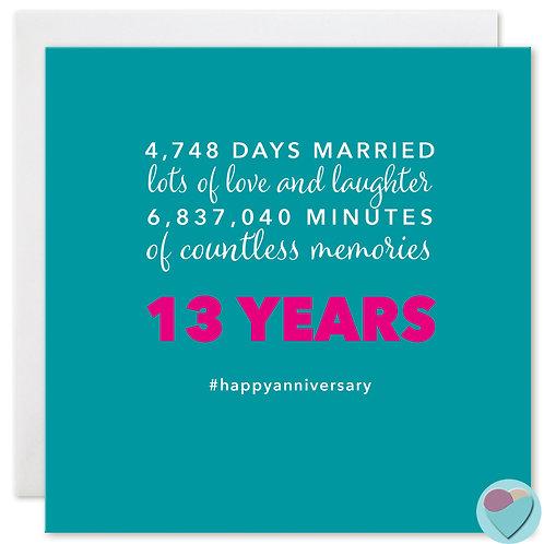 Wedding Anniversary Card 13 Years 4,748 DAYS MARRIED