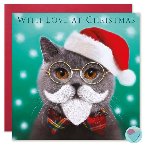 British Shorthair Cat Christmas Card 'WITH LOVE AT CHRISTMAS'